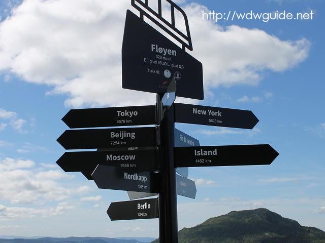 ベルゲン・フロイエン山頂にある標識