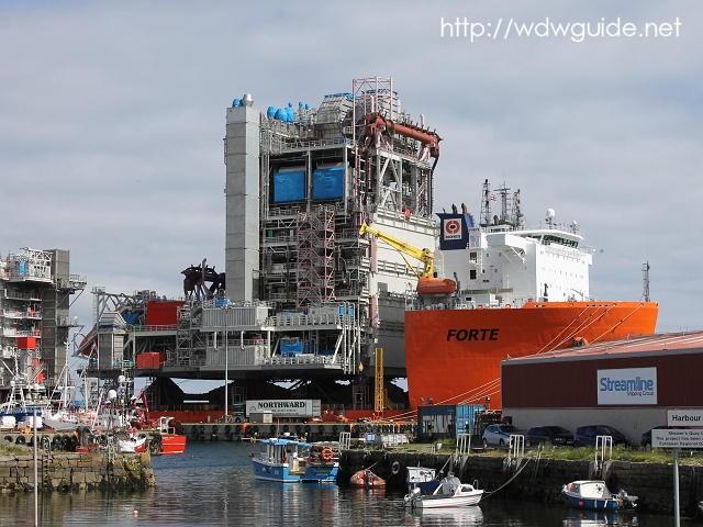 ラーウィックにある海洋油田の設備