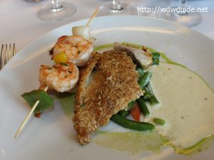 Oat Crusted Barramundi with Grilled Prawns,Parsley Beurre Blanc