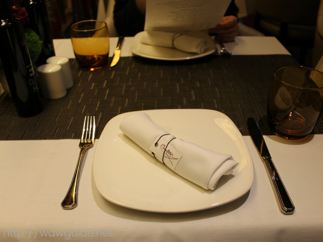 ザイデルダムのイタリアンレストランのカナレットのプレート