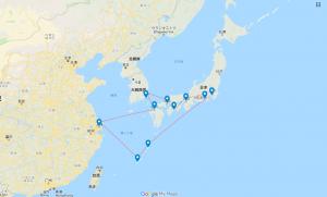 横浜発着クルーズ の航路