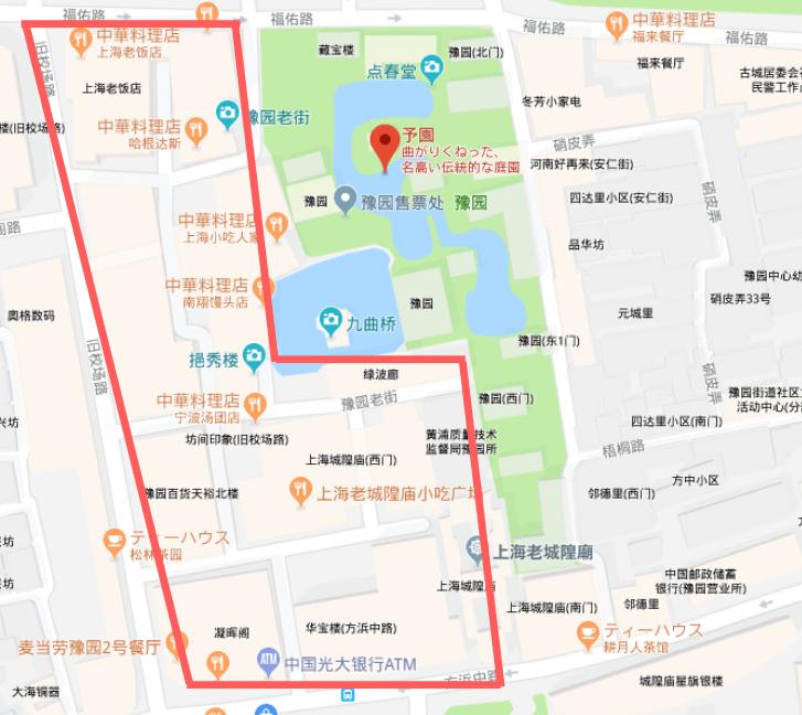 豫園商城の地図