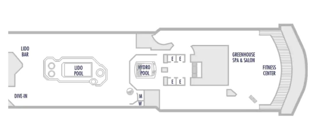ウエステルダムのデッキ9の船首の船内地図