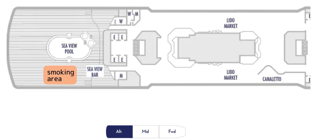 ウエステルダムのデッキ9の船尾の船内地図