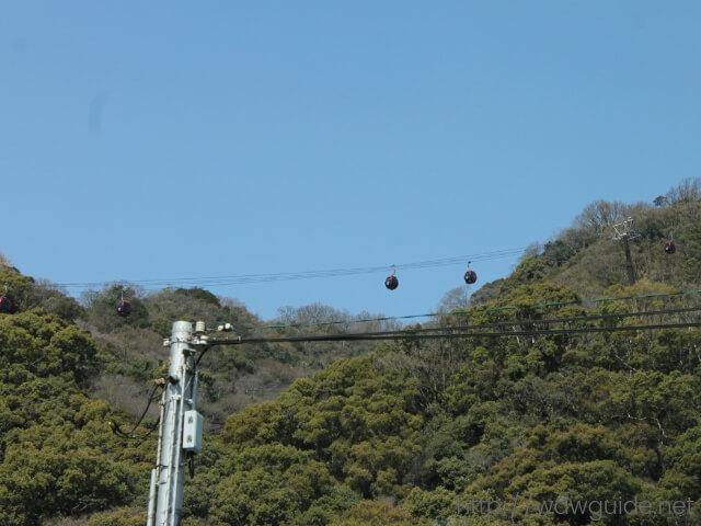 シティーループバス車内から見た神戸布引ハーブ園/ロープウェイ