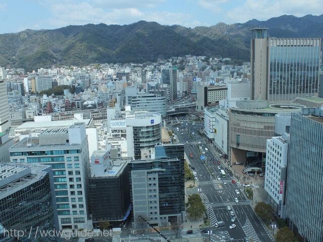 神戸市役所展望ロビーから眺める三宮から北野の街並みや六甲山系の山並み