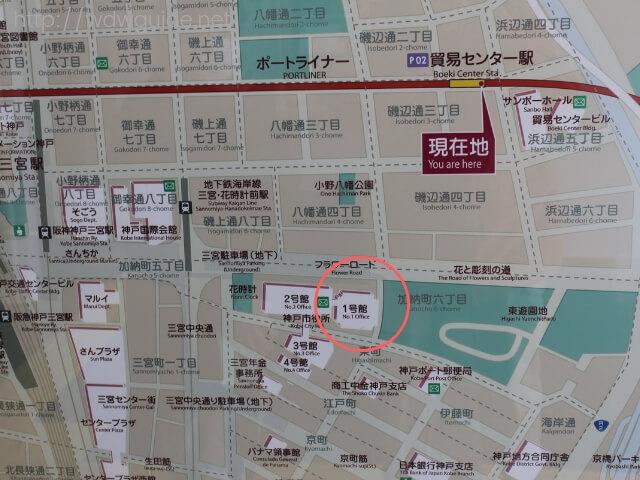神戸市役所への地図