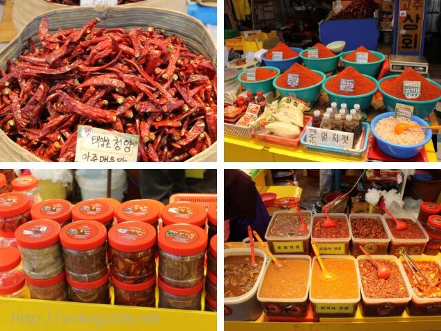 韓国済州島の東門在来市場の売られていた唐辛子