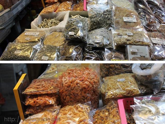 韓国済州島の東門在来市場の乾物