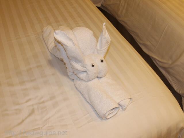 今夜のタオルアートのウサギ