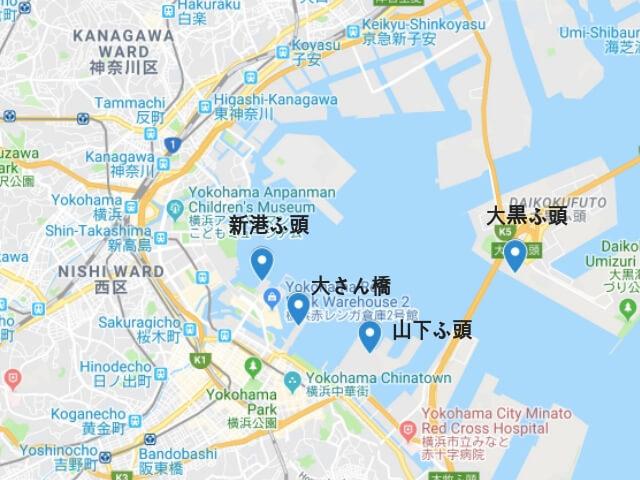 日本発着クルーズ で利用する横浜港の地図