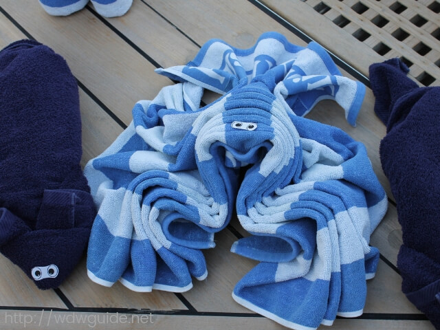 ウエステルダムのタオルで作られた動物たち