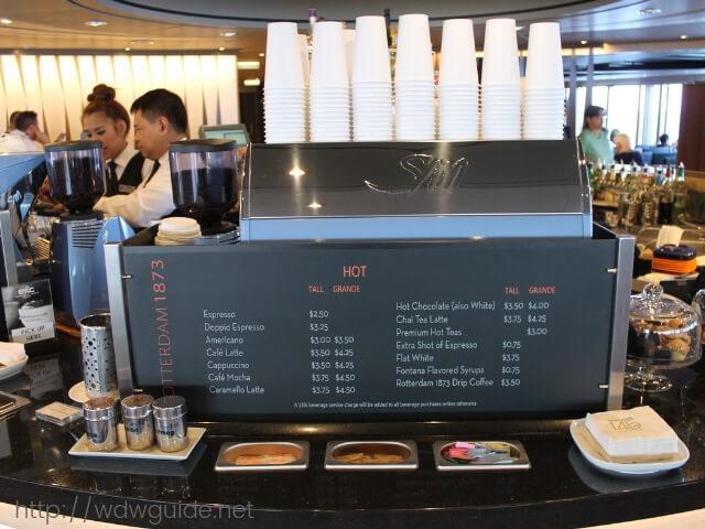 ホーランドアメリカラインのウエステルダム船内のエクスプラネーションズ カフェ