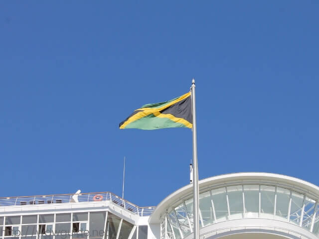 コーニングスダムに掲げられたジャマイカの国旗