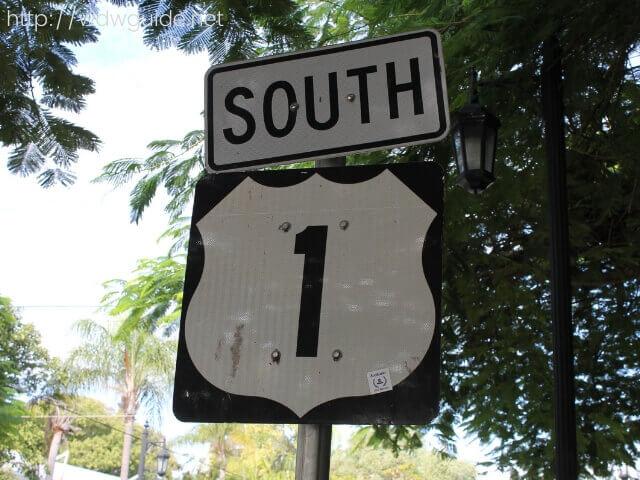 キーウエストのルート1の標識