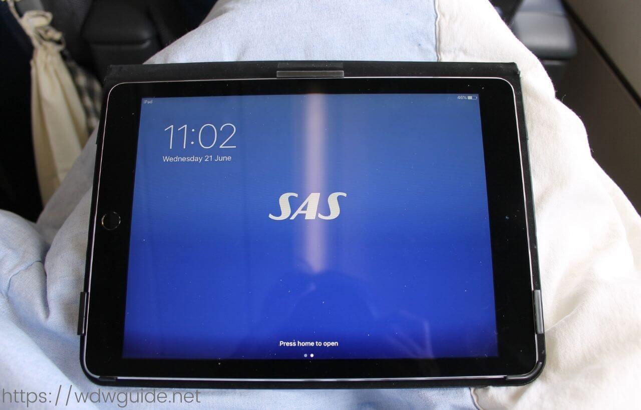 スカンジナビア航空(SAS) プレミアムエコノミーで配布されたiPad