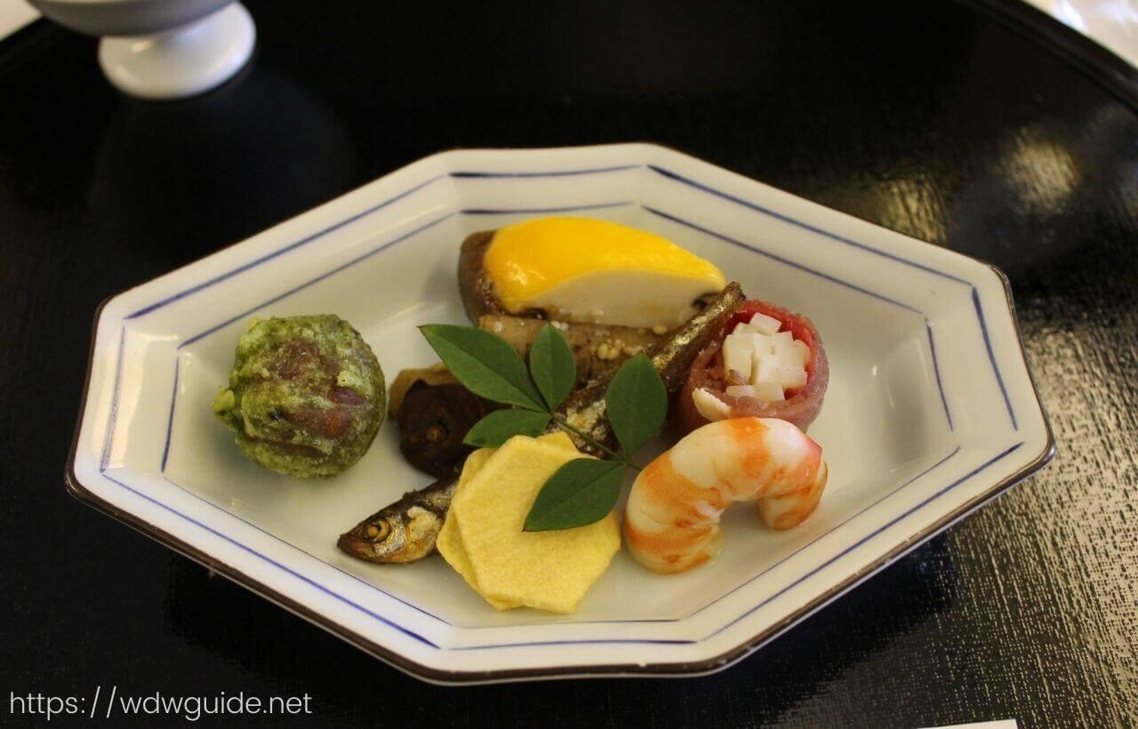ANAファーストクラス機内食の和食の前菜
