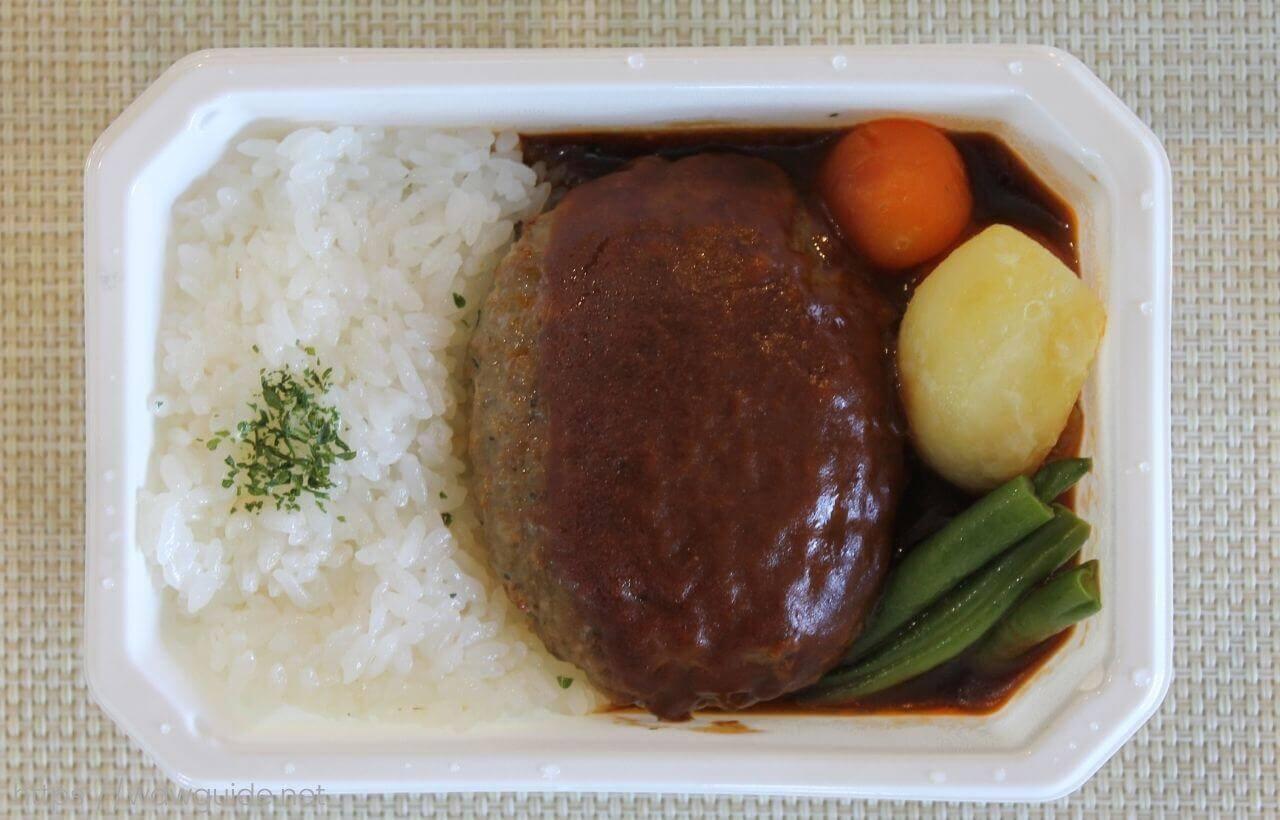 ANA国際線エコノミークラス機内食のビーフハンバーグステーキ