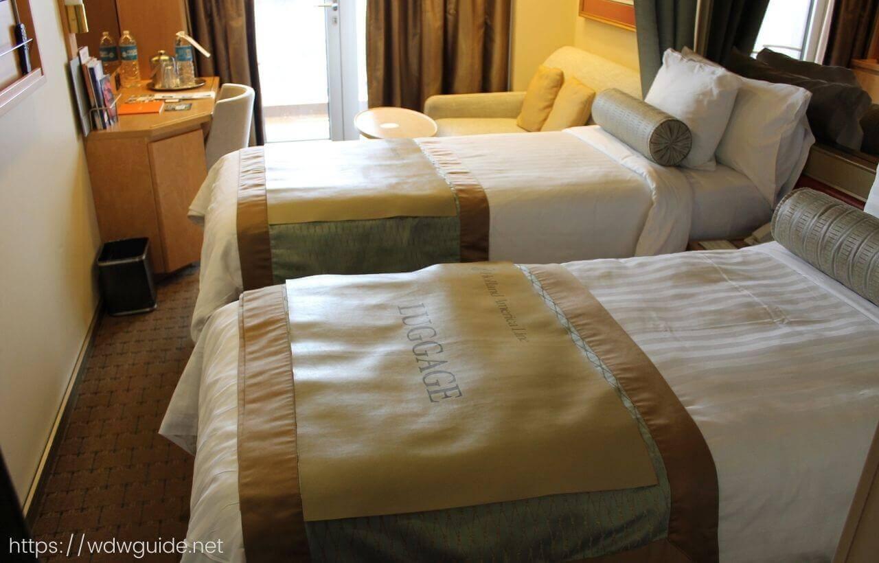 ザイデルダムの客室のベッド