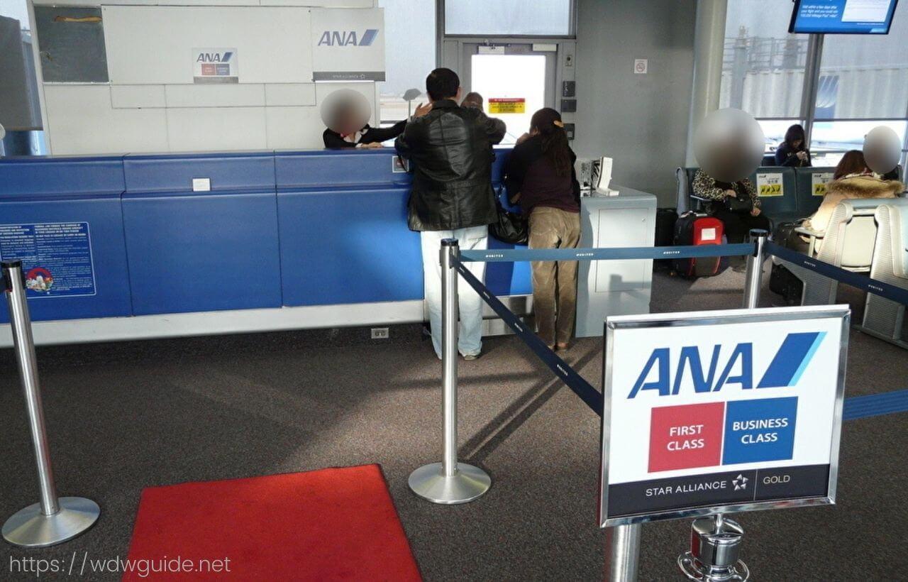 シカゴ・オヘア空港のANAの搭乗口(カウンター)