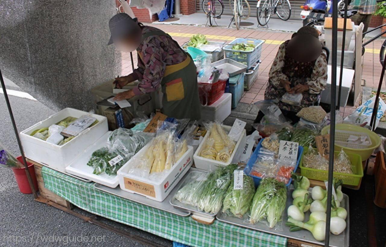高知の日曜市に並ぶ野菜